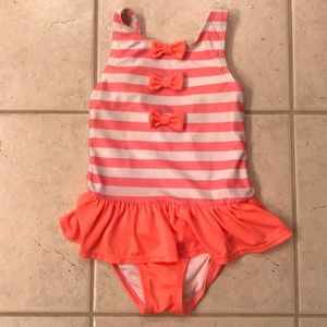 Gymboree Swimsuit Coral Bow Ruffle 5T Sailor